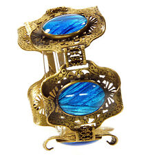Wings Carved Filigree Brass Bracelet Antique Arts And Crafts Morpho Butterfly