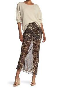 NILI LOTAN Ella Women's Silk Chiffon Maxi Skirt in Brown Leopard Print Size 4