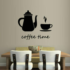 Wall Decal Sticker Vinyl Coffee Time Cup Pot Kitchen Food Cafe Bedroom M1000