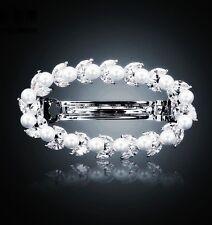 BARRETTE use Swarovski Crystal Hairpin Bridal Wedding Silver Pearl Hair Clip 2