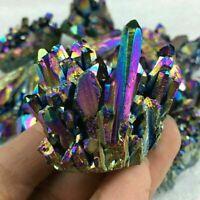 UK Natural Crystal Aura Quartz Amethyst Rainbow Titanium Specimen Cluster Stone