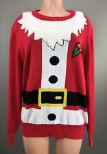Ugly Christmas Long Sleeve Sweater Top Santa Claus Fuzzy Xmas Party Large NEW