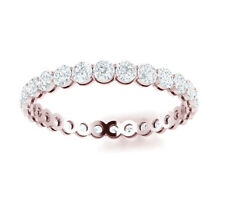 Rose Gold Eternity Band H Si2 1.50Ct Round Diamond Shared Prong Gallery 14k