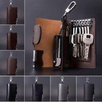 AU Men Genuine Leather Key Bag Car Keys Money Coin Holder Keychain Wallet  ~