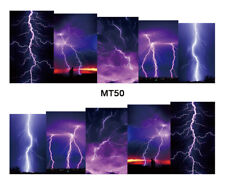 Nail Art Decals Transfers Stickers Storm Lightning (MT50)