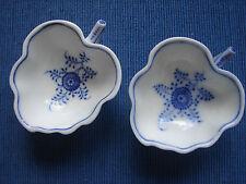 2 antike Blattschälchen, Strohblumenmuster, Indisch Blau, gebrochener Stab