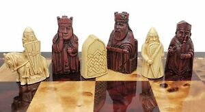 "Red & Ivory Finish Mini Isle of Lewis Chess Men Set 2 3/8"" King - NO BOARD"