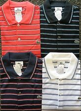 NEW MENS LACOSTE S/S STRIPED PIQUE POLO GOLF SHIRT, PICK A COLOR & SIZE, $98