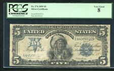 """FR. 274 1899 $5 FIVE DOLLARS """"CHIEF"""" SILVER CERTIFICATE PCGS VERY GOOD-8"""