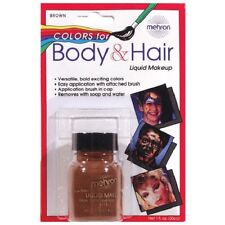 Brown Mehron Liquid Face Body Hair Makeup Paint 1oz Stage Grey Theater Cosplay
