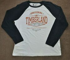 Timberland Mens Long Sleeve T-Shirt White Blue Size XL Print