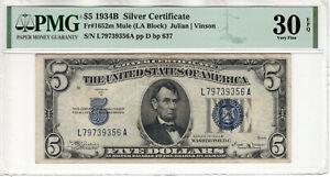 1934 B $5 SILVER CERTIFICATE NOTE FR.1652m MULE BACK PLATE 637 PMG VF 30 EPQ