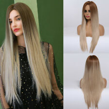 EASIHAIR Women Synthetic Long Straight Ombre Blonde Wig Hair for Cosplay Wigs