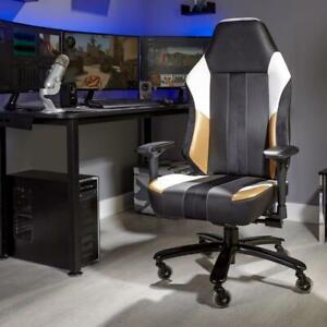 X Rocker Ergonomic Gaming Chair Ergonomic PC Office Seat Adjustable Gold Velvet