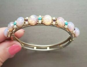 Faux Pink Opal Rhinestone & Pearls Goldtone Hinged Bracelet Safety Chain Vtg