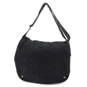 HUNTING WORLD Shoulder bag Black Woman unisex Authentic Used T2105