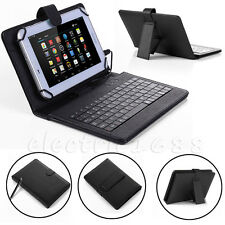 For Amazon Kindle Fire HD 8 7th Gen (2017) Micro USB Keyboard Leather Case Cover