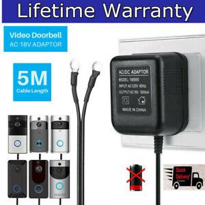 For Ring Video Doorbell Transformer 18V Power Supply 5M Cable Adapter 230V New