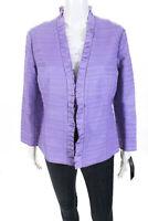 Lafayette 148 New York Womens Ruffle Trim Leather Accent Blazer Purple Size 8