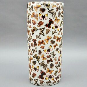 "Classic Umbrella Stand Ceramic 18"" Round Tall Retro Butterfly Brolly Holder"