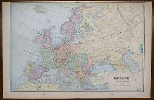 """Vintage 1902 EUROPE Map 22""""x14"""" Old Antique Original DENMARK NORWAY SWEDEN UK EU"""
