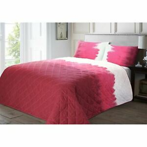 Luxury Water Colour Effect Modern Soft Quilted Bedspread Quilt Throw Pink
