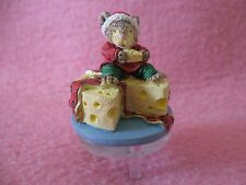 """Ganz Mouse Sitting on Cheese Resin Figure on Clear Pedestal 2 1/2"""" tall"""