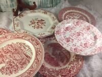 6 Vintage Mismatched China Ironstone Dinner Plates pink Red White Transfer # 43