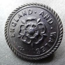 antique vintage 27mm jet black vulcanite England Wales rose flower button -H3
