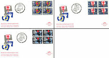 Netherlands Stamps - 3 First Day Covers from 1980s - Blocks of 4 Red Cross 13