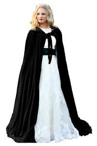 Black Hooded Velvet Halloween Cloak Cape Wizard Vampire Witch Wedding Medieval