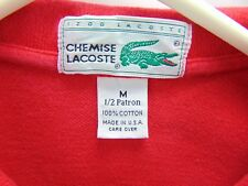 Vintage IZOD Lacoste Chemise Medium 2 Button Polo Cherry Red Short Sleeve Shirt