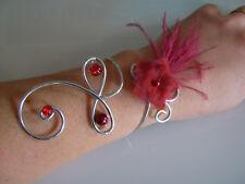 Bracelet Rouge/Bordeaux Original Robe Mariée/Mariage/Cérémonie fleur plume