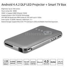 Android 4.4 DLP HD LED Projector+ Smart TV Box WiFi For Laptop Smart Phones O7YT