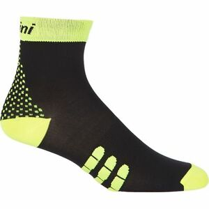 """""""Two"""" QSkin Cycling Socks - in Black and Yellow - made in Italy by Santini"""