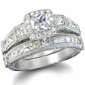 14K White Gold Wedding Set Princess Diamond Bridal Rings Vintage Estate