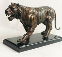 Hot Cast Art Deco African Tiger Bronze Sculpture Marble Base Wildlife Statue Art