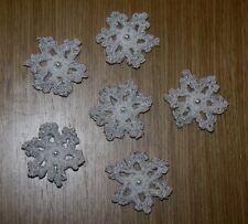 6 x HANDMADE CROCHET SNOWFLAKE CHRISTMAS DECORATIONS / APPLIQUES