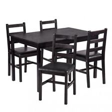 5PCS Dining Table Set Pine Wood and Metal  Kitchen Dinette Table  4 Chairs New