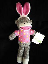 """Easter Sock Monkey Wearing Bunny Ears and Pink Pokka Dot Shirt 12"""""""