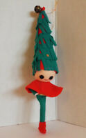 Vintage JAPAN Pixie Elf Christmas Green Tree Hat Ornament 5 Available Bell Nylon
