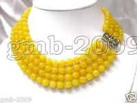 """Charming! 4 Rows 8MM Natural Yellow Jade Round Beads Gemstone Necklace 18-20"""""""