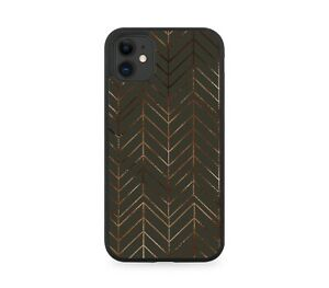 Black and Rose Gold Dark Geometric Design Rubber Phone Case Abstract Lining F870