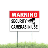 WARNING SECURITY CAMERAS IN USE Coroplast Sign Plastic Indoor Outdoor H Stake