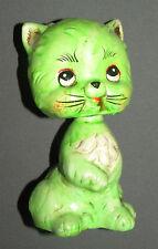 Vintage 1950s Green Cat Bank Figure Bobblehead Japan