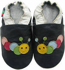 shoeszoo soft  leather baby shoes caterpillar dark blue 0-6m S