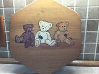 "Longaberger 10"" Generations Basket Wood Lid K.S. Lanam TEDDY BEARS"