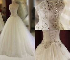 Strapless Handmade Beads Fake Diamonds Wedding Dress Custom UK 4 6 8 10 12 14 16