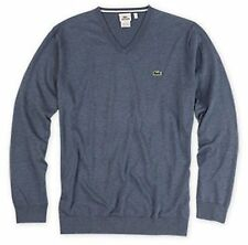 Lacoste Men V Neck Pullover Sweater Size  9R / 2XL Grey