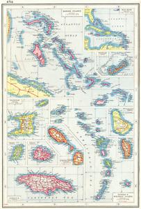 BRITISH WEST INDIES.Bahamas Bermuda Trinidad Antigua Jamaica Barbados+ 1920 map